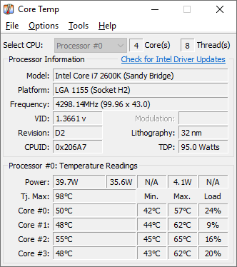 Screenshots #1. Core Temp 64bit / Windows